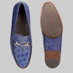 Mezlan Mens Shoes Jeans Handsome Exotic Ostrich Moccasins 14191-S (MZW2511)