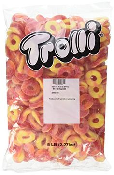 Trolli Peachie O's Sour Gummy Candy, 5 Pound Bulk Candy Bag Peach flavored gummy rings Bursting peach flavor in every bite Fat free candy Great snacking for kids of all ages Bulk size is great for parties, party favors, grab bags and candy dishes! Candy Recipes, Gourmet Recipes, Snack Recipes, Bulk Candy Bars, Candy For Sale, Junk Food Snacks, Bulk Food, Candy Videos, Candy Brands