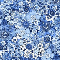 MAKOWER ORIENTAL Blue - Packed Flowers by AndSewForthHowden on Etsy
