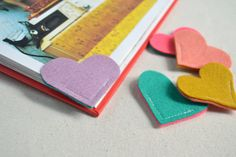 Reversible Multi-Colored Wool Felt Heart Bookmark - these are lovely.