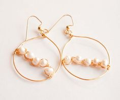 Cream Freshwater Pearl Hoop Earrings, wedding, bridal, gifts under 20 on Etsy, $15.00