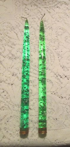 "Pair of Retro Lucite Acrylic Green Silver Confetti  12"" Taper Candles"