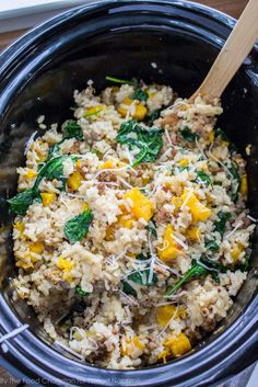slow cooker risotto with butternut squash and sausage
