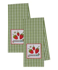 Embellished 'Strawberry Patch' Dish Towel - Set of Two #zulily #zulilyfinds