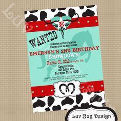 Cowgirl Birthday Party Invite DIY