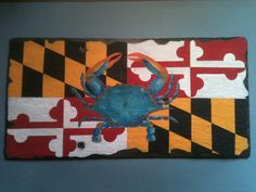 Chesapeake Bay Blue Crab and Maryland State Flag on Etsy, $60.00