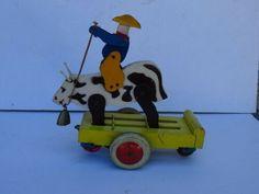 Jeu ancien jouet en bois à tirer cowboy sur une vache rodéo | eBay