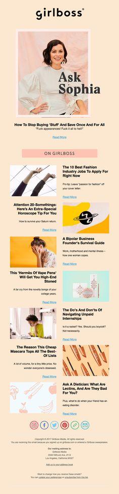Responsive email design from Girlboss Html Email, Responsive Email, Email Design Inspiration, Goal Digger, Display Ads, Girl Boss, Edm, Logo Design, How To Apply
