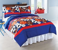 ALL SPORTS Boys Bedding Football Basketball Soccer Balls Baseball - Boys sports bedding sets twin