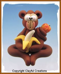 Polymer Clay Monkey with Banana by Clayful Creations . . .  $8.50