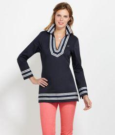 Women's Shirt Shop: Grosgrain Cotton Sateen Tunic for Women - Vineyard Vines ...Only sizes 0, 2 and 10 left.  On Sale at vineyardvines.com