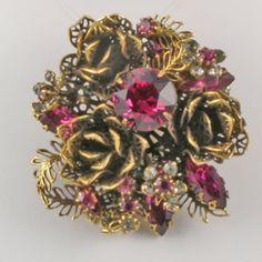 Vendome Rose Vintage Brooch & Earring Set
