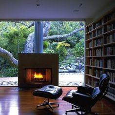 Library with a fireplace, an awesome tree and a path that makes me want to go on an adventure!