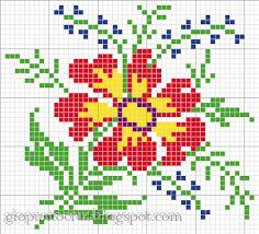 flores rosas a punto de cruz - Buscar con Google