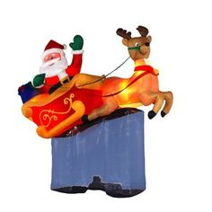 Inflatable Christmas Lawn Decoration - Santa in Sleigh