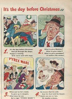 1944 PYREX Ware MAN Shops Before Xmas Poem Vintage Corning Glass Works Print Ad