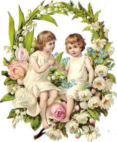 Oblaten Glanzbild scrap die cut chromo Kind child 15cm Blumen Kranz oval wreath