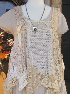 Lace and Crochet One of a kind Handmade Vintage Style Vest by BeckysSassyCreations on Etsy