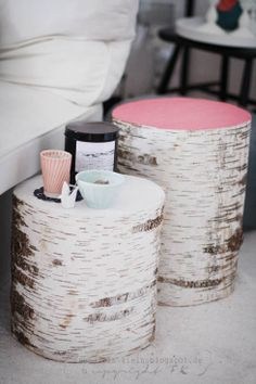 birch stump with painted top | bedside table