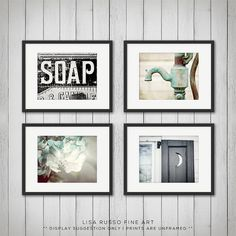 rustic bathroom decor sets. Rustic Bathroom Decor Set of 4 Prints by LisaRussoFineArt 3 Photographs  Art