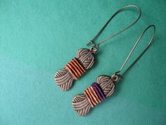 Autumn is Coming -- Time to knit.  Yarn ball earring wrapped with real yarn in the center on French wires.  Love these! $7.00.