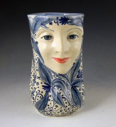 Face vase sweet blue and white with leaves hand by PSPorcelain