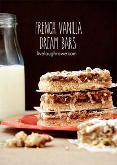 French Vanilla Dream Bars made with International Delight French Vanilla Creamer. A flavorful treat! Brownie Recipes, Cookie Recipes, Dessert Recipes, Bar Recipes, Recipies, Just Desserts, Delicious Desserts, Yummy Food, Yummy Treats