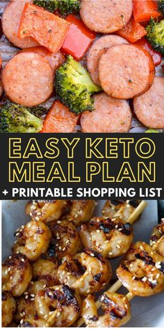 Curious about trying keto but don't know where to start? I've got you covered! I've included 5 easy low-carb dinners + a bonus keto dessert that will make your life easier. I even included net carb counts and a printable shopping list to make it easier! Best Healthy Dinner Recipes, Entree Recipes, Brunch Recipes, Whole Food Recipes, Keto Recipes, Yummy Recipes, Easy Keto Meal Plan, Meal Planning Printable, Easy Weeknight Meals