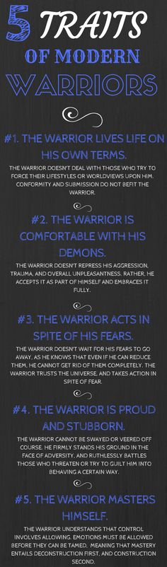 This is an excerpt of my The Way of the Warrior: 101 Characteristics of Modern Warriors article. The way of the warrior was (and still is) originally meant as a code of conduct designed to bring structure and purpose to modern men's lives.