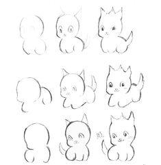 Как рисовать котёнка: схема № 5