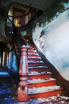 The most amazing #staircase I have ever seen in an #abandoned home.