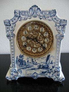 Ansonia Royal Bonn Mantle Clock Blue Dutch Windmill Porcelain Art Deco Brass Grid from Blue And White China, Blue China, Ansonia Clock, White Mantle, White Clocks, Antique Clocks, Vintage Clocks, Vintage Dishes, Clock Shop