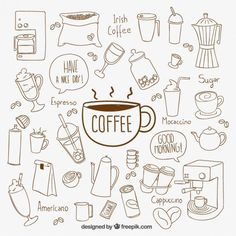 30 hand-painted coffee elements - vector graphics - Wallpaper In Diary Doodle Drawings, Doodle Art, Doodle Frames, Stitch 626, Coffee Doodle, Doodles, Sketch Notes, Bullet Journal Inspiration, Coloring Pages