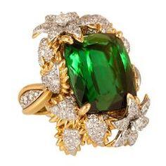 Bielka Green Tourmaline Diamond Gold Platinum Ring