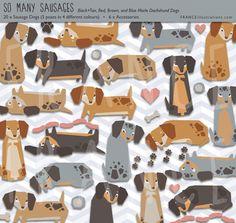 Dachshund Sausage Dog Cute Kawaii Craft by FRANCEillustration on Etsy.