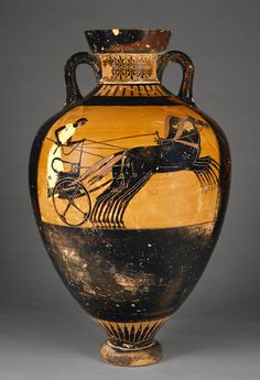 Attic Panathenaic Amphora   Kleophrades Painter ,   Greek (Attic)   Athens, Greece  Date:  490 - 480 B.C.  Terracotta
