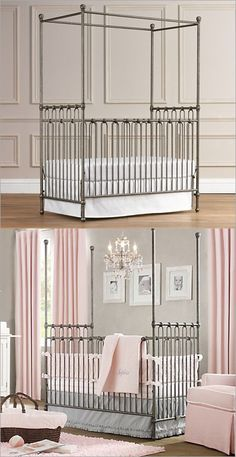 pretty nursery - unfortunately, AAP says no bumper guards! They're one of the prettiest parts of baby bedding.
