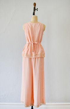 vintage 1930s pink rayon silk pajama set