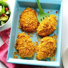 Crumb-Coated Ranch Chicken Recipe -How do you get so much flavor out of a five-ingredient-or-fewer recipe? Ranch dressing is the key! Enjoy this simple dish on busy weeknights or with company for special occasions. —LaDonna Reed, Ponca City, Oklahoma
