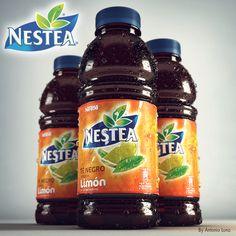 Modelado, texturizado, iluminación y render de Nestea Té Negro sabor a Limón 500 ml. Bottle Design, Behance, Maya, Advertising, Packaging, Food, Tutorials, Animation, Concept