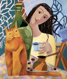 Morning Talk by Natalya Bronnikova...a cup of coffee with my cat...love it.