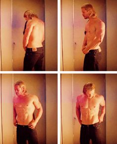 Let's take a moment to appreciate Thor trying on a pair of jeans.  Actually, let's take a few moments.  Or as long as you like.