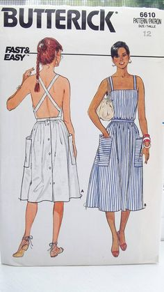 Vintage Sundress Sewing Pattern Butterick 6610 Fast & Easy