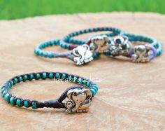 Turquoise Beaded Elephant Bracelets Handmade Gift by IdeaBracelets, $10.00