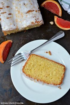 This dense homemade Grapefruit Olive Oil Pound Cake recipe has a light citrusy flavor only achievable from fresh Ruby Red Texas Grapefruit! Grapefruit Cake, Good Food, Yummy Food, Fun Food, Kitchen Confidential, Pound Cake Recipes, Cornbread, Olive Oil, Homemade