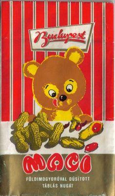 Maci táblás csokoládé (földimogyoróval dúsított nugát) (90's)