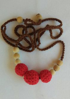 Nursing Teething Necklace- Crocheted 100% cotton yarn covered natural wooden beads