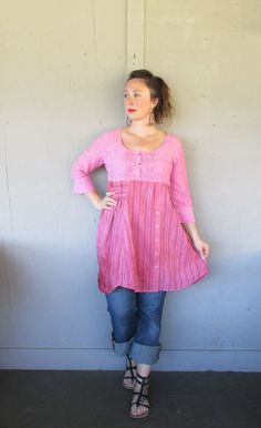 Large X Large upcycled tunic dress / Grunge by lillienoradrygoods