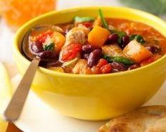 Ragoût de dinde aux haricots rouges, potiron et épinards
