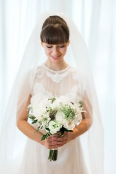 Retro White Lace Wedding Dress | Krista Lajara Photography on @savvybride via @aislesociety